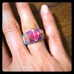 Enamel color block fashion ring size between 7-8